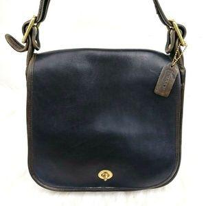 Vtg Coach Navy Leather Contrast Trim Shoulder Bag